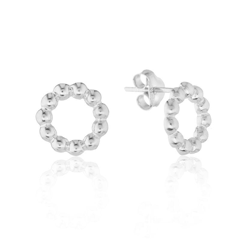 Abla Sterling Silver Beaded Circle Stud Earrings image
