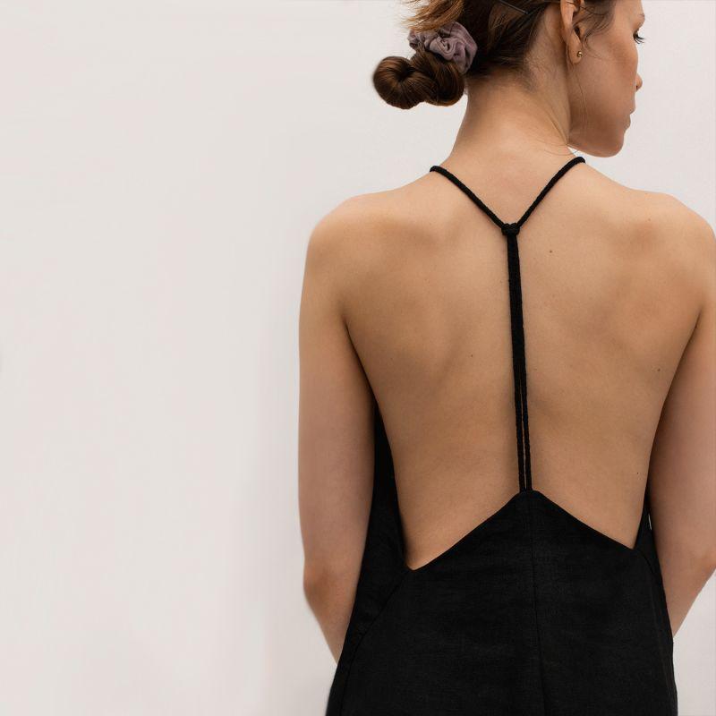 Linen Blend Slip Midi Dress In Black image