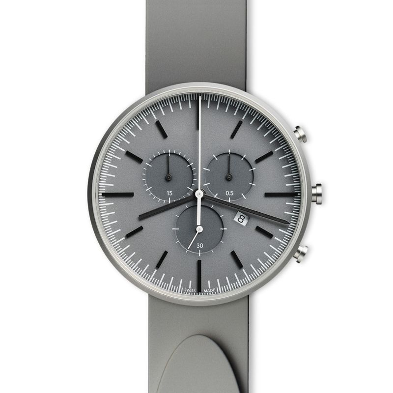 Men's M42 Precidrive Chronograph Watch In Brushed Steel With Nitrile Grey Rubber Strap image