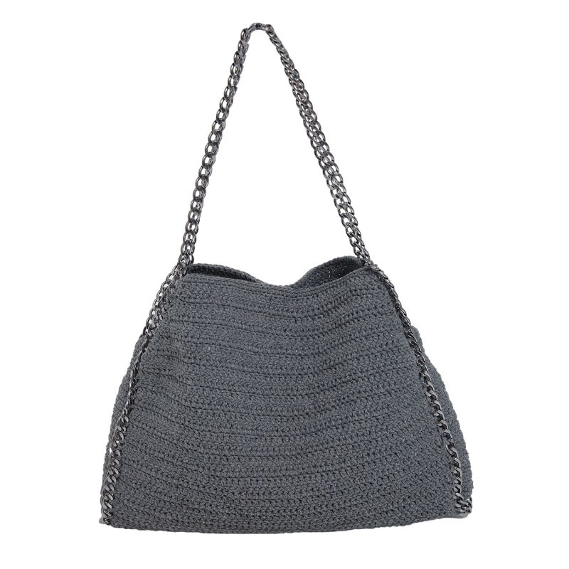 Bodrum Hand Crochet Chain Bag in Grey image