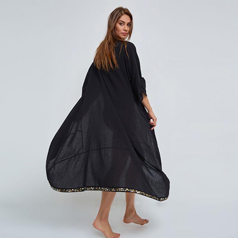 Kaftan in Black Crinkled Organic Cotton image