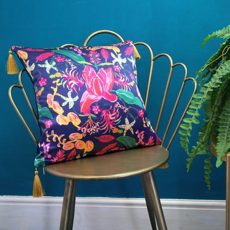 Navy Tropical Fusion Silk Cushion image