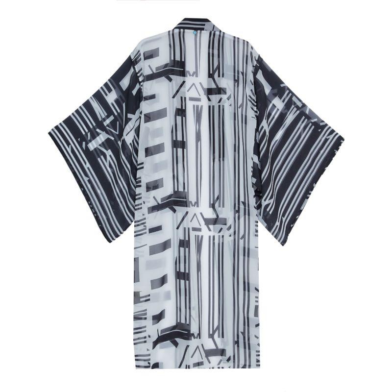 Geometric Design Kimono in Black & White image