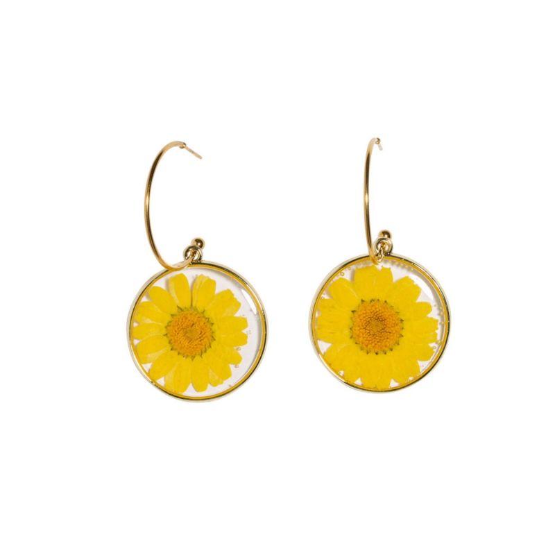 Skinny Hoop & Yellow Daisy - 2 inch image