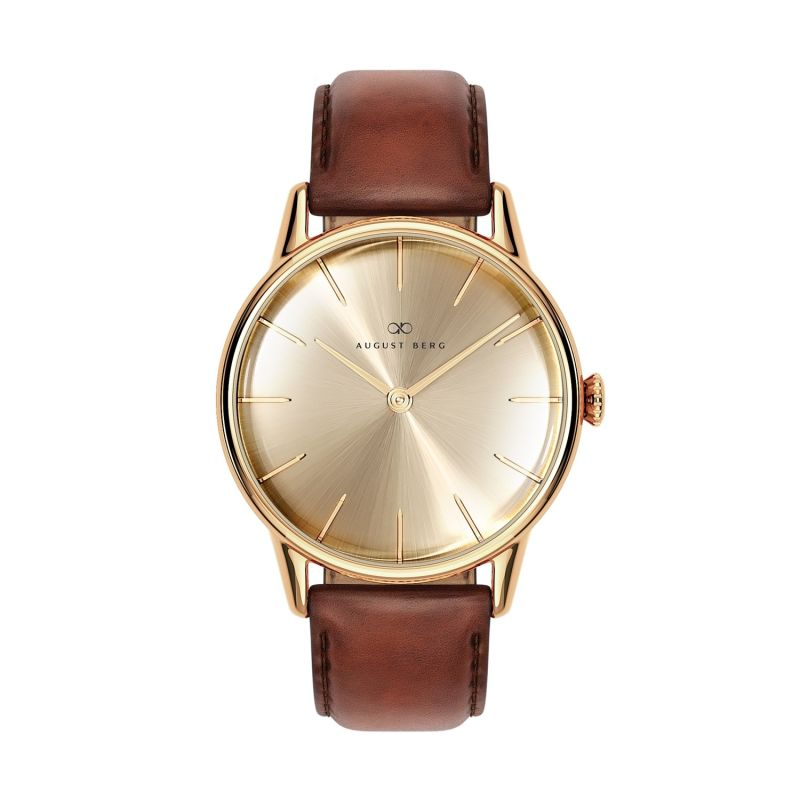 August Berg Serenity Gold Classic Shine - Dark Brown Leather 32mm image