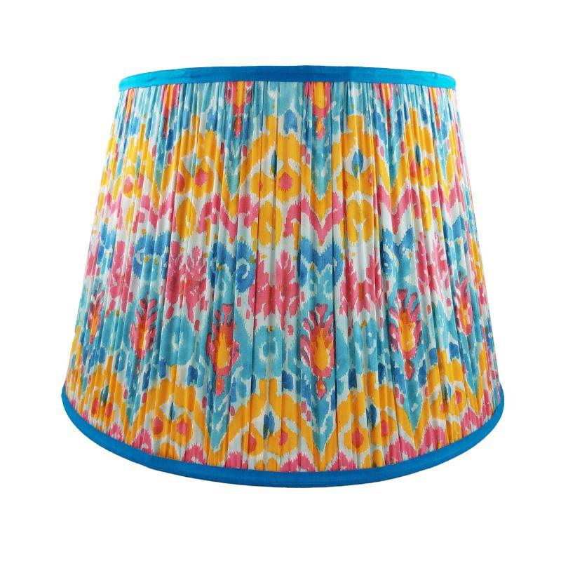 Manuel Multi Ikat Gathered Cotton Lampshade 45cm image
