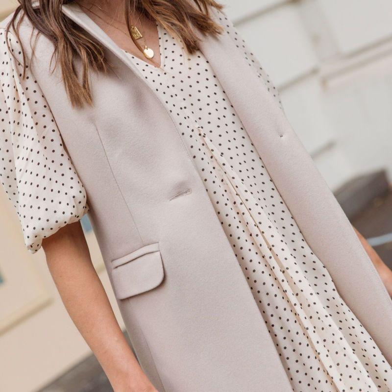 Wool Cashmere Sleeveless Coat - Bisque image
