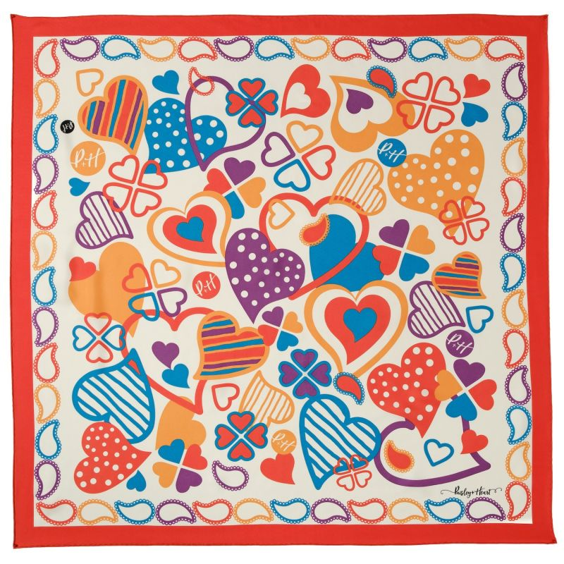 Silk Twill Square Scarf Classic Red Border image