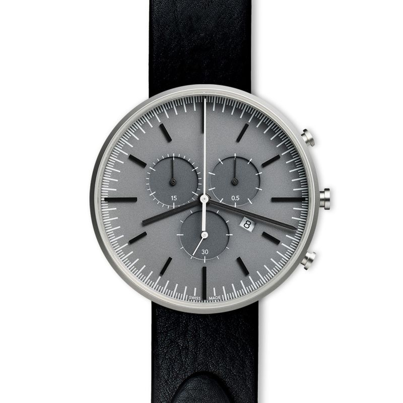 Men's M42 Precidrive Chronograph Watch In Brushed Steel With Nappa Black Leather Strap image