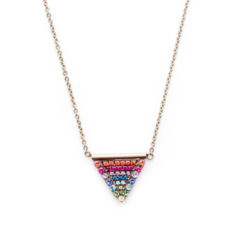 Crystal Encrusted Triangle Pendant Necklace - Antique Silver Prism image