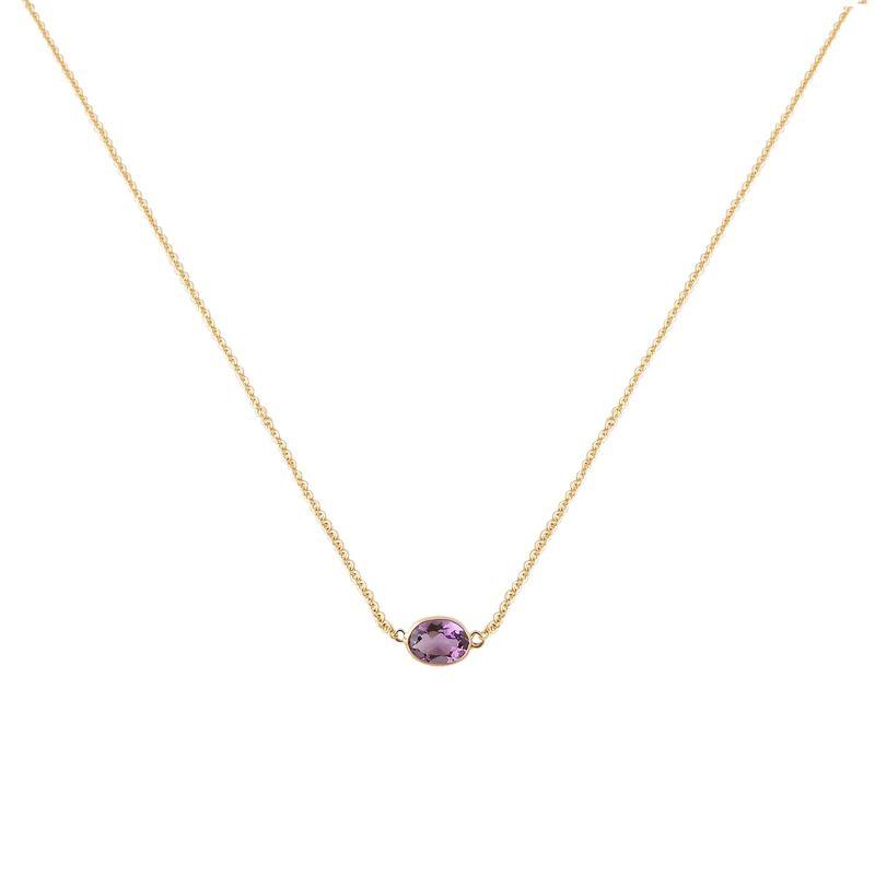 Single Stone Bezel Set Amethyst Necklace In 14 Karat Yellow Gold image