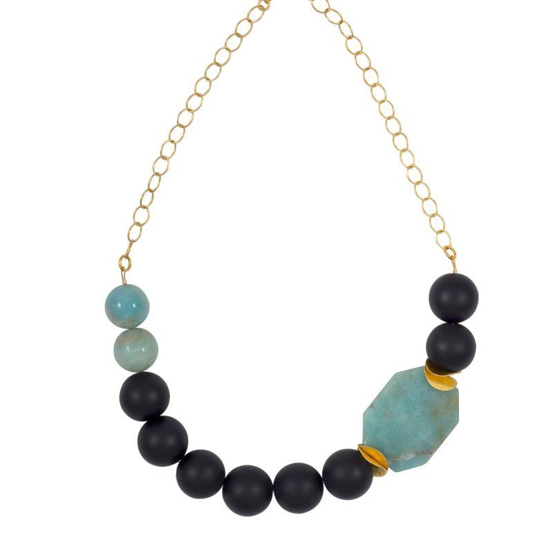 Green Amazonite & Black Onyx Statement Necklace image