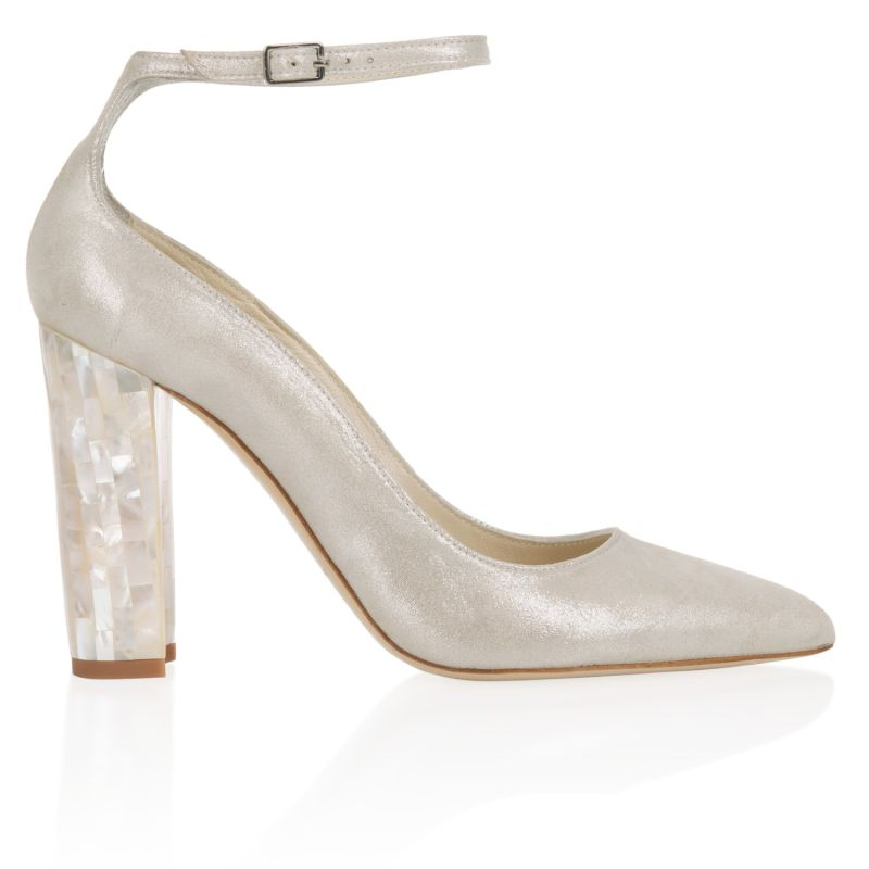 Micola Champagne - Pointed Toe Block Heels In Shimmering Champagne Suede image