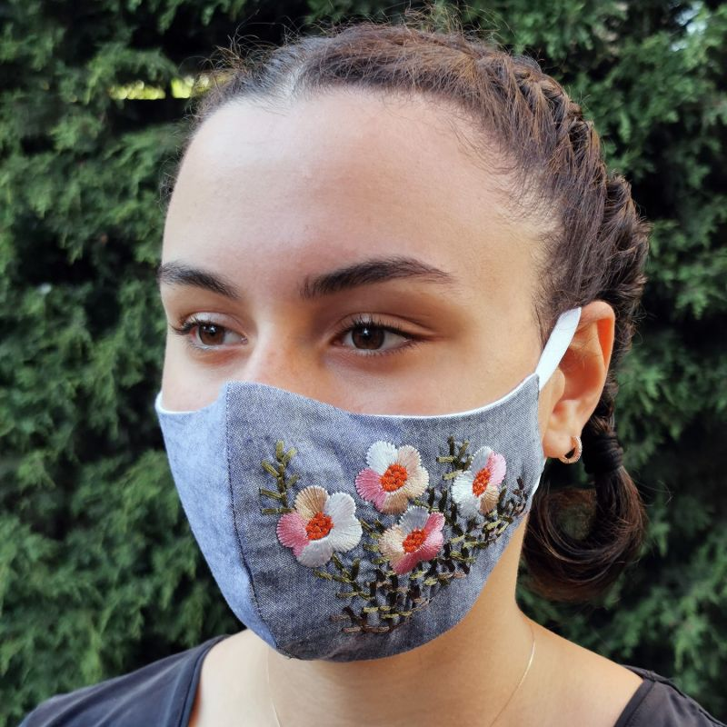 Pack Of 2 - Adjustable / Triple Layer Cotton Face Masks With Nose Wire & Flower Embroidery Details image