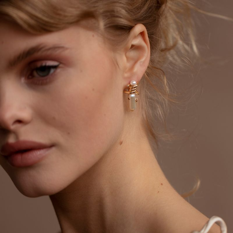 Layla Gold Plated Pearl Earrings image