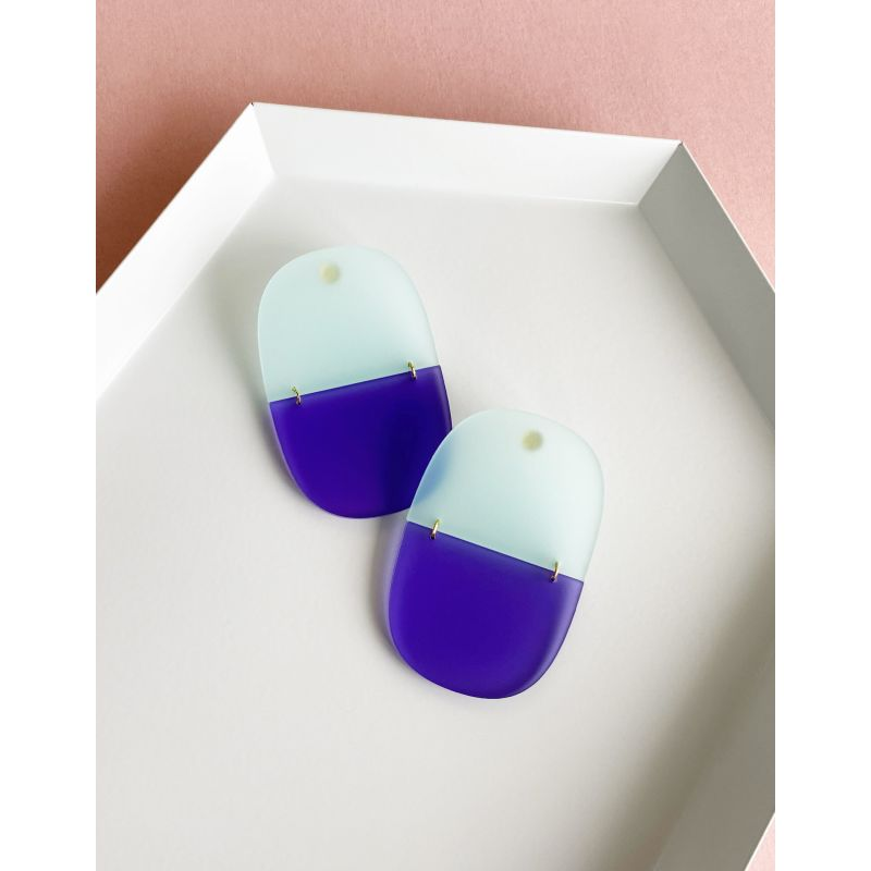 Chunk Translucent Lilac Purple & Frost Blue Earrings image