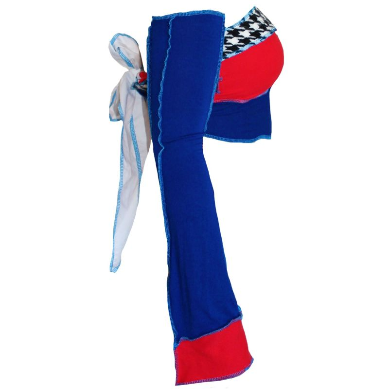 Tie Up Bandeau With Detachable Sleeves in Red and Blue image