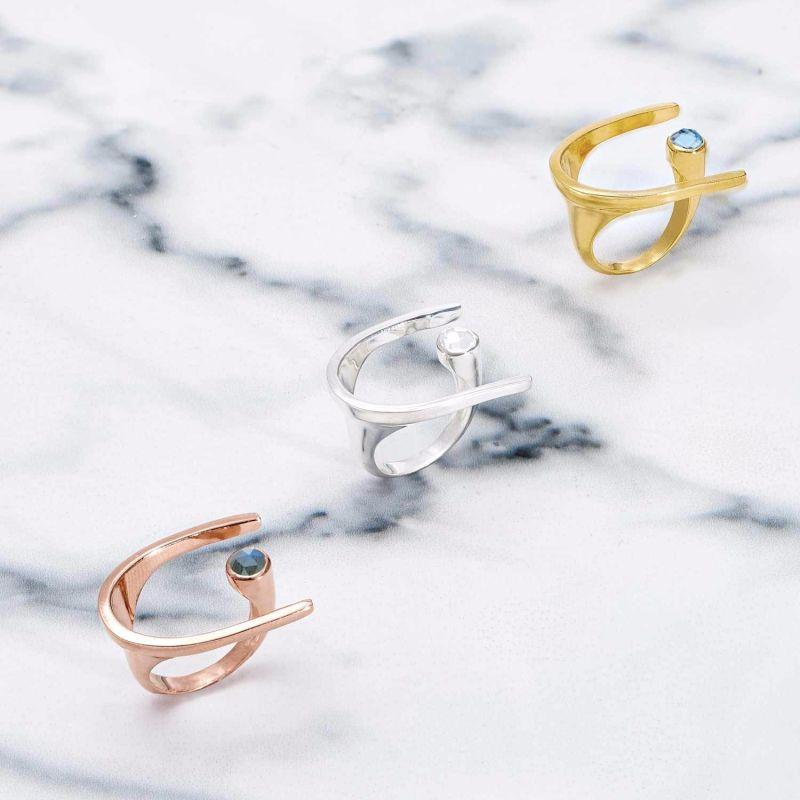 Lunaria Sterling Silver Cocktail Ring In Labradorite image