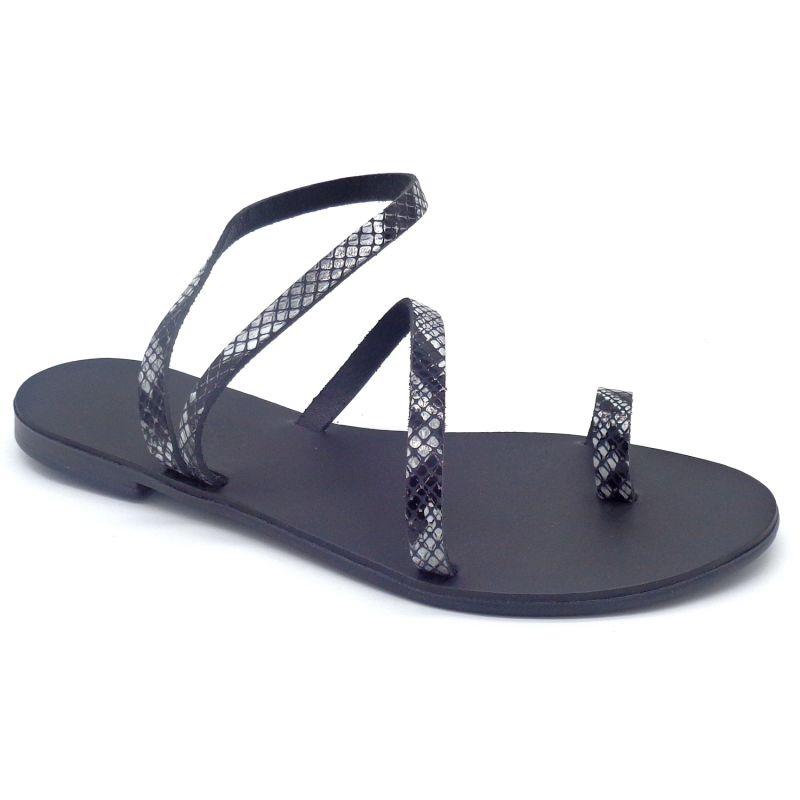 Toe Ring Sandals Mania Black Boa Print image