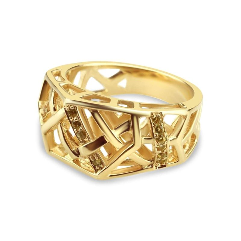 Gold Plated Crossover Citrine Ring image