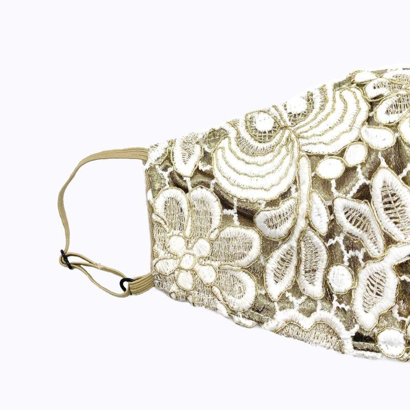 Adjustable Ivory Guipure Lace On Gold Lamé Mask image