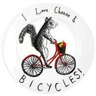 'I Love Cheese & Bicycles' Side Plate image