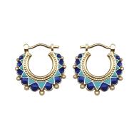 Small Creole Enamel Earrings - Blue image