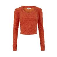 Talia Recycled Long Sleeve Crop Top - Burnt Orange image