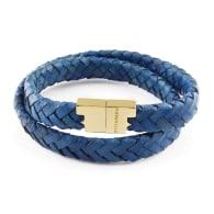 Royal Blue Leather Double Wrap Bracelet - Stark Gold image