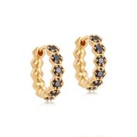 Deco Black Spinel Hoop Earrings in Yellow Gold Vermeil image