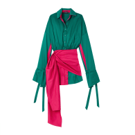 Button Up Tied Long Sleeve Wrap Dress - Pink & Blue Green image