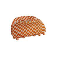 Orange & White Flat Chequered Hair Claw Clip image