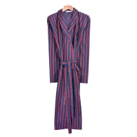 Men'S Ionian Lightweight Dressing Gown - Red, Navy & Gold Stripe image