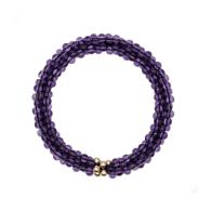 Beaded Gemstone Bracelet - Amethyst & Gold image