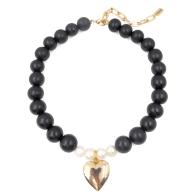 The Katie Black Wooden Bead & Heart Locket Necklace image