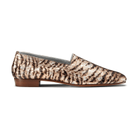 No.17 Tiger Rose Printed Leather Flat Loafers with Square Toe image