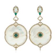 18k Gold Mother Of Pearl Dangle Earrings Diamond Emerald Handmade Jewelry image