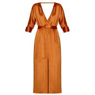 Sira Tawny Brown Satin Kimono Sleeve Midi Dress image