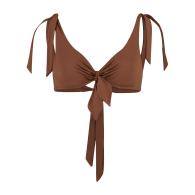 Capri Underwired Tie-Up Bikini Top - Burnt Umber image