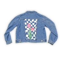 Reworked Denim Jacket With Statement Checkerboard & Tulip Design image