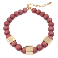 The Kelly Tan Wooden Bead & Gold Cube Necklace image