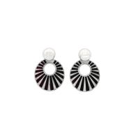 Lucille Earrings - Black & Silver image