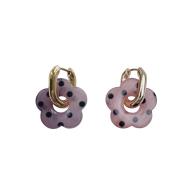 Pink Purple Polka Dot Flower Hoop Earrings image