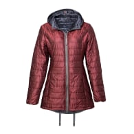 Long Reversible Wool filled Puffer jacket in Red image