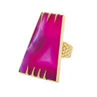 Pink Agate Determination Gemstone Gold Ring image