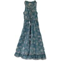 Blue Sleeveless Block Print Day Dress image