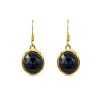 Aissa Black Onyx Earrings In 18K Gold Vermeil image