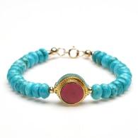 Turquoise Tibetan Beaded Bracelet image