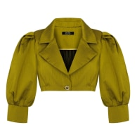 Gold Cropped Helena Jacket With Puffy Sleeves image