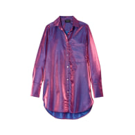 Oversized Button Up Top - Purple Iredescent image